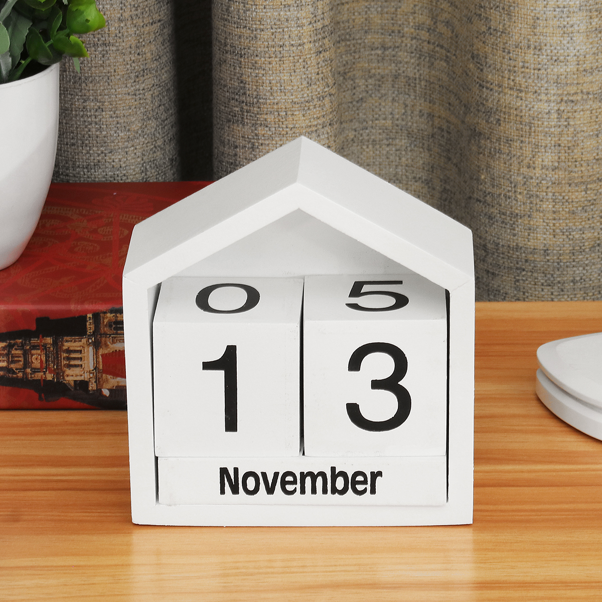 Vintage Block Calendar Perpetual Wooden Desktop Office Table Decor Baby Gifts