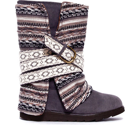 Taupe or Gray with Removable Wrap Muk Luks Womens Nikki Blanket Boot Mid-Calf