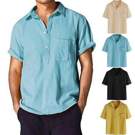 Mens Houndstooth Dress - Men Linen Short Sleeve Summer Solid Shirts Casual Loose Dress Soft Tops Tee