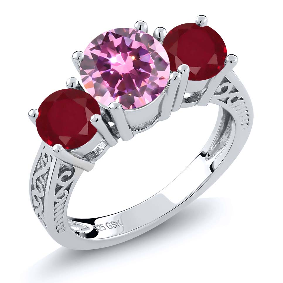 2.38 Ct Round Pink Zirconia Red Ruby 925 Sterling Silver 3-Stone Ring by