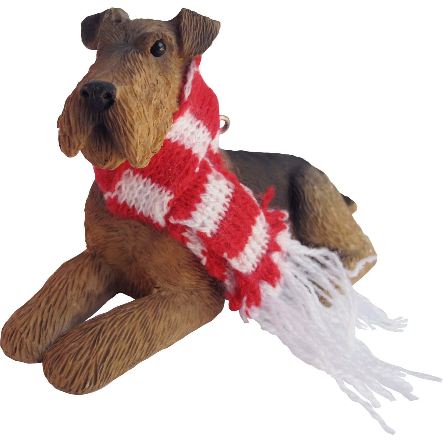 Sandicast Lying Airedale Terrier with Scarf Christmas Dog Ornament