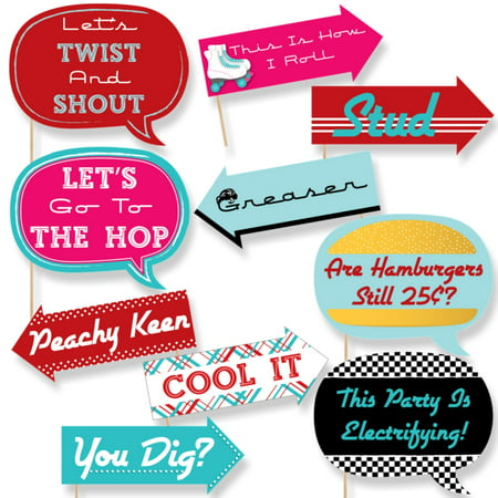 Funny 50's Sock Hop - 1950s Rock N Roll Party Photo Booth Props Kit - 10 Piece