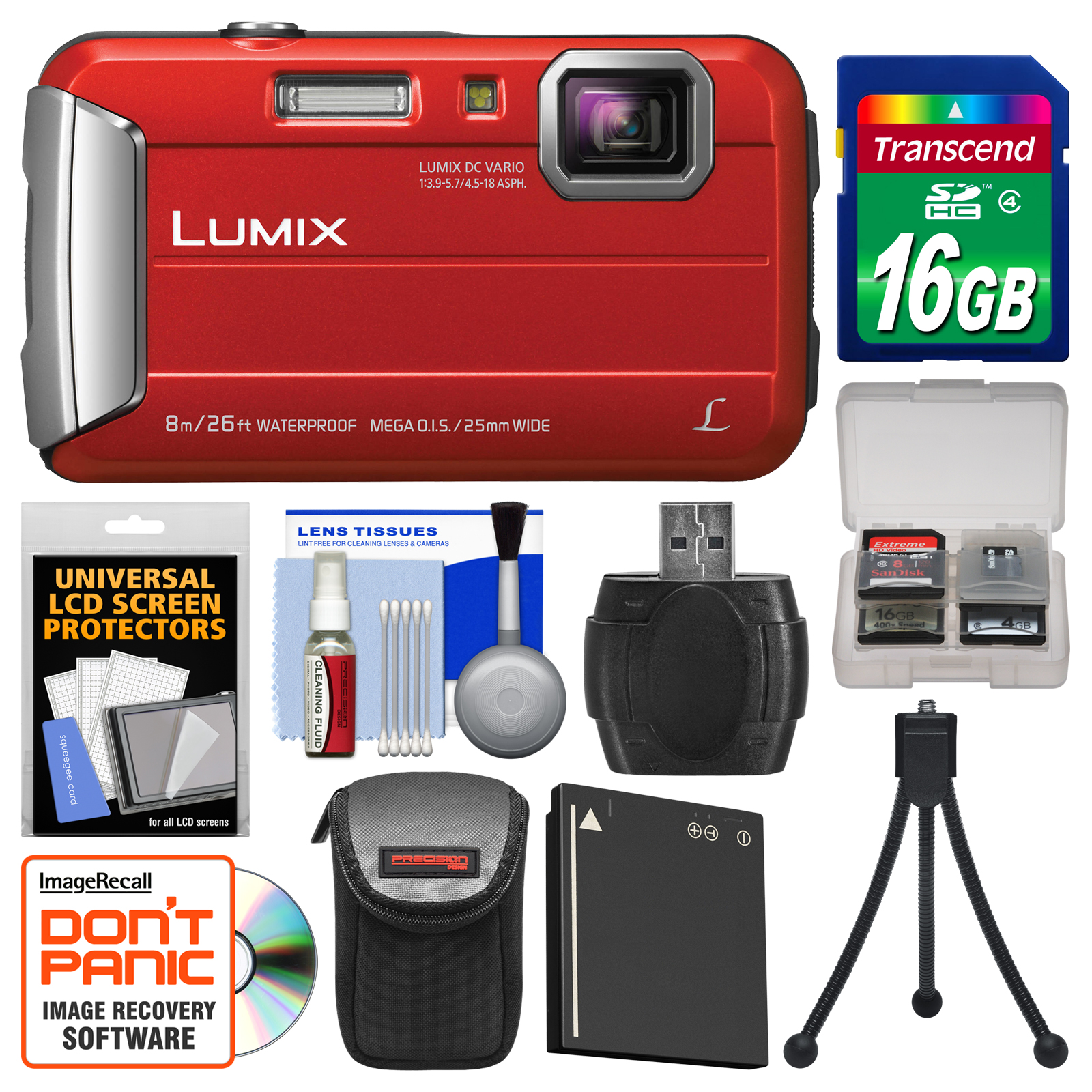Panasonic Lumix DMC-TS30 Tough Shock & Waterproof Digital Camera (Red) with 16GB Card   Case   Battery   Flex Tripod   Kit