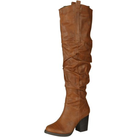 09 Boots - Qupid ROSDALE-09 Western Inspired Stacked Heel Slouchy Over the Knee Boot