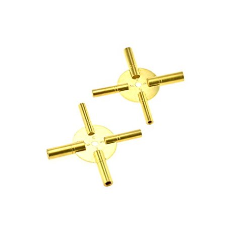 SE JT6336-2 Universal 4 Prong Brass Clock Key for Winding Clocks, Odd and Even Numbers (2 PC.)