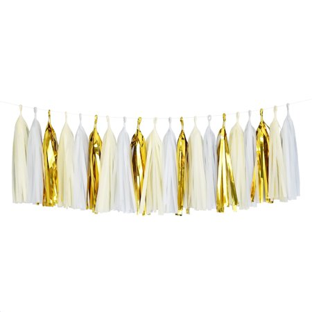 Tissue Paper Tassel DIY Party Garland (20 Tassels Per Package) - White, Ivory, Gold Mylar - Garland Diy