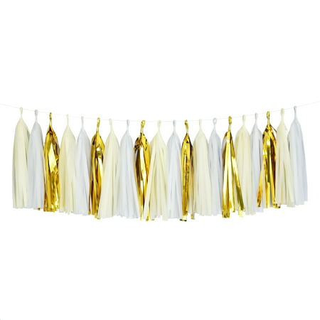 Tissue Paper Tassel DIY Party Garland (20 Tassels Per Package) - White, Ivory, Gold Mylar