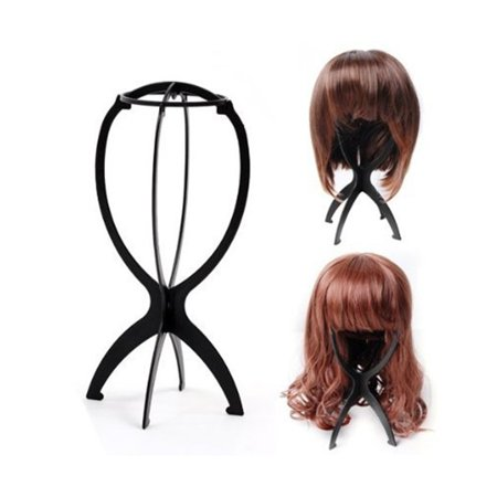Portable Folding Wig Stand Collapsible Durable Plastic Wig Dryer Wig Display Tool Black 1 pcs ()