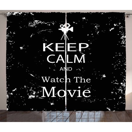 Keep Calm Curtains 2 Panels Set, Watch the Movie Quote for Film Buffs Grungy Weathered Backdrop with Old Camera, Window Drapes for Living Room Bedroom, 108W X 108L Inches, Black White, by Ambesonne