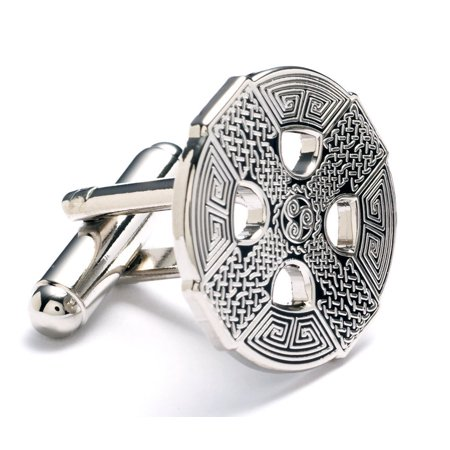 Nickel Plated Celtic Cross Cufflinks