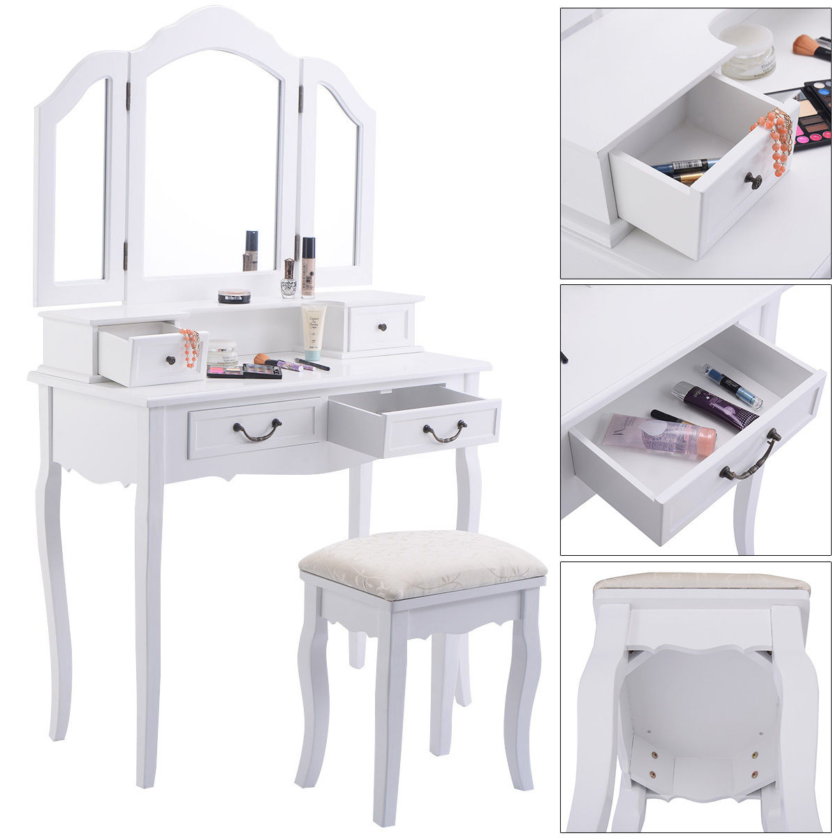 Tri Folding Mirror White Wood Vanity Set Makeup Bathroom Table Dresser 4 Drawers Stool