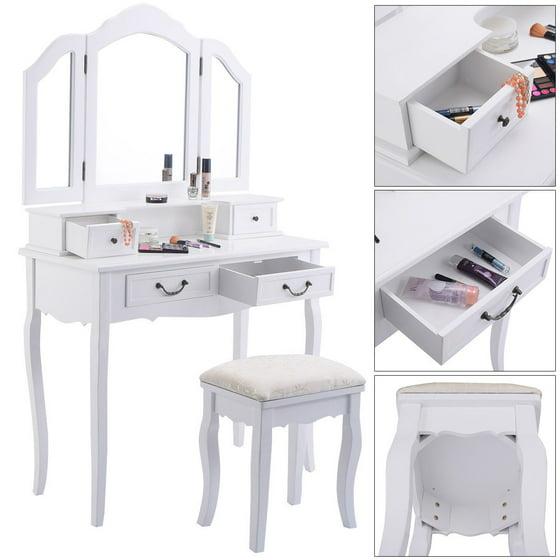 tri fold mirror vanity set. Tri Folding Mirror White Wood Vanity Set Makeup bathroom Table Dresser 4  Drawers Stool