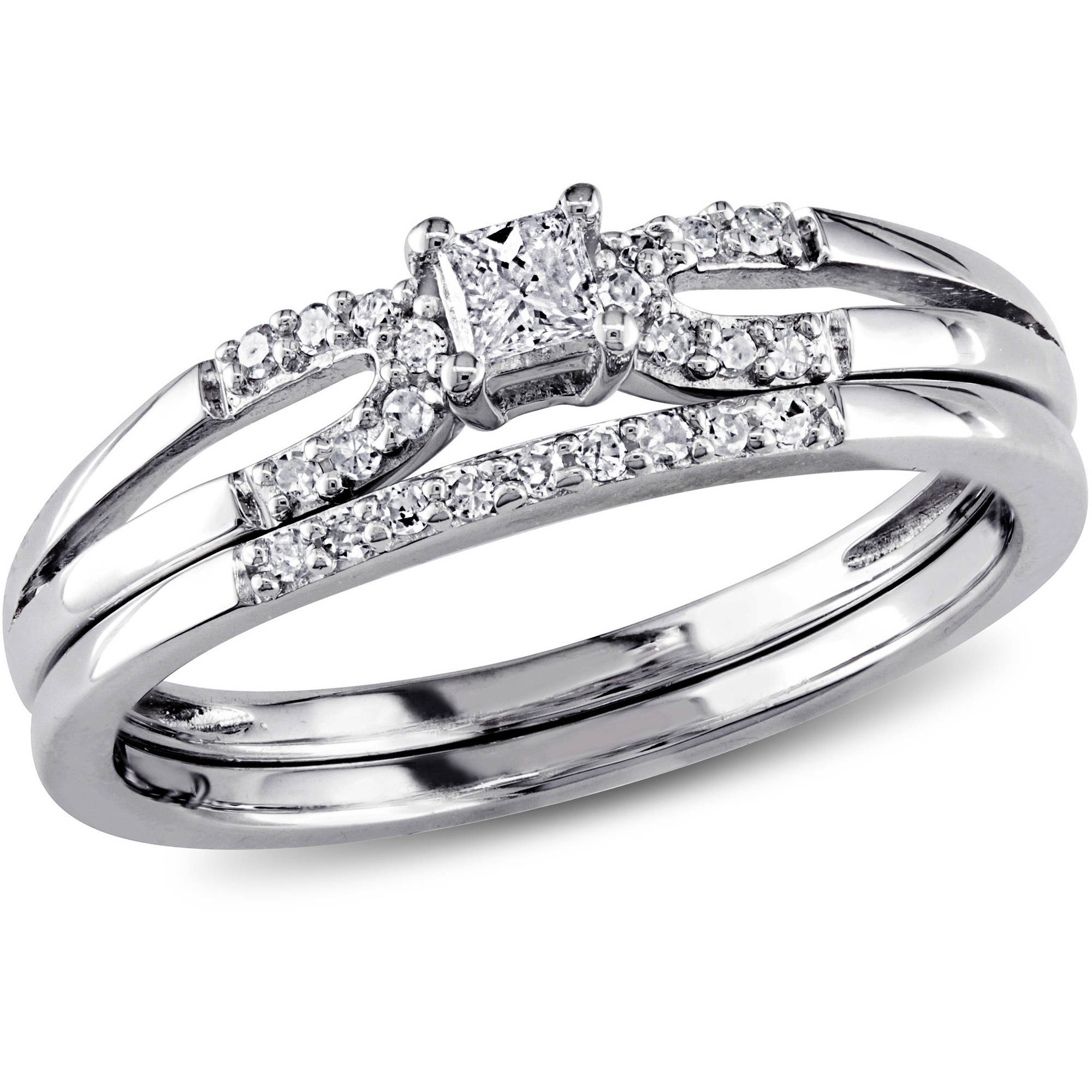 Miabella 1/5 Carat T.W. Princess and Round-Cut Diamond Sterling Silver Bridal Ring Set