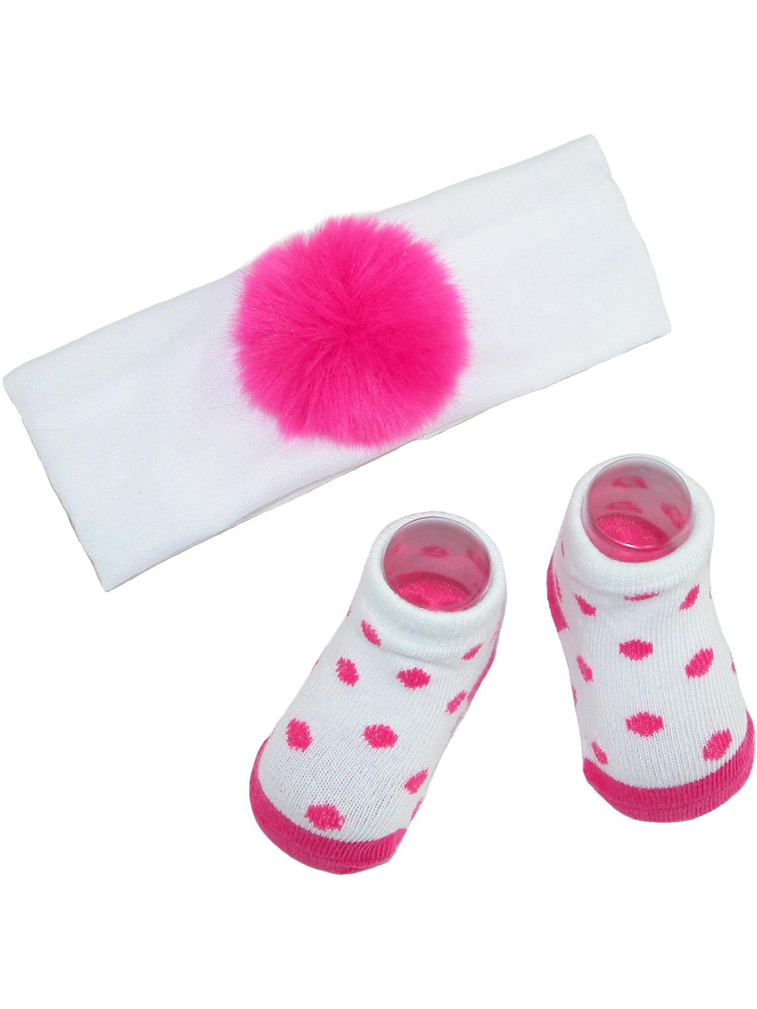 Size one size Baby Girl's Faux Fur Pom Headband and Sock Set, Pink