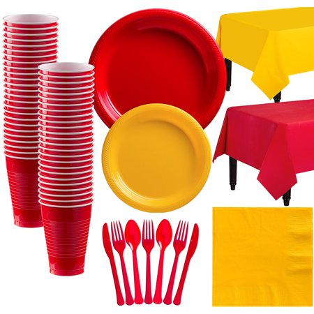 Party City Mix and Match Plastic Tableware Kit for 50 Guests, 487 Pieces, Includes Plates, Napkins, and Table Covers - Party City Rockville