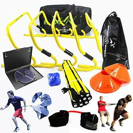 NEW TEAM SPEED AGILITY & QUICKNESS Training Kit with Instructional DVD | High School & College | Football, Soccer, Basketball, Baseball, Supports All Sports | Hurdles, Ladder, Power Resistor, &