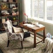 Jourdan Decorative Modern Contemporary Grey Floral Linen Sloped Arm Hostess A...