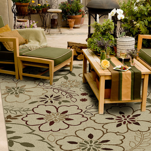 Orian Floral Glory Indoor/Outdoor Area Rug, Bisque