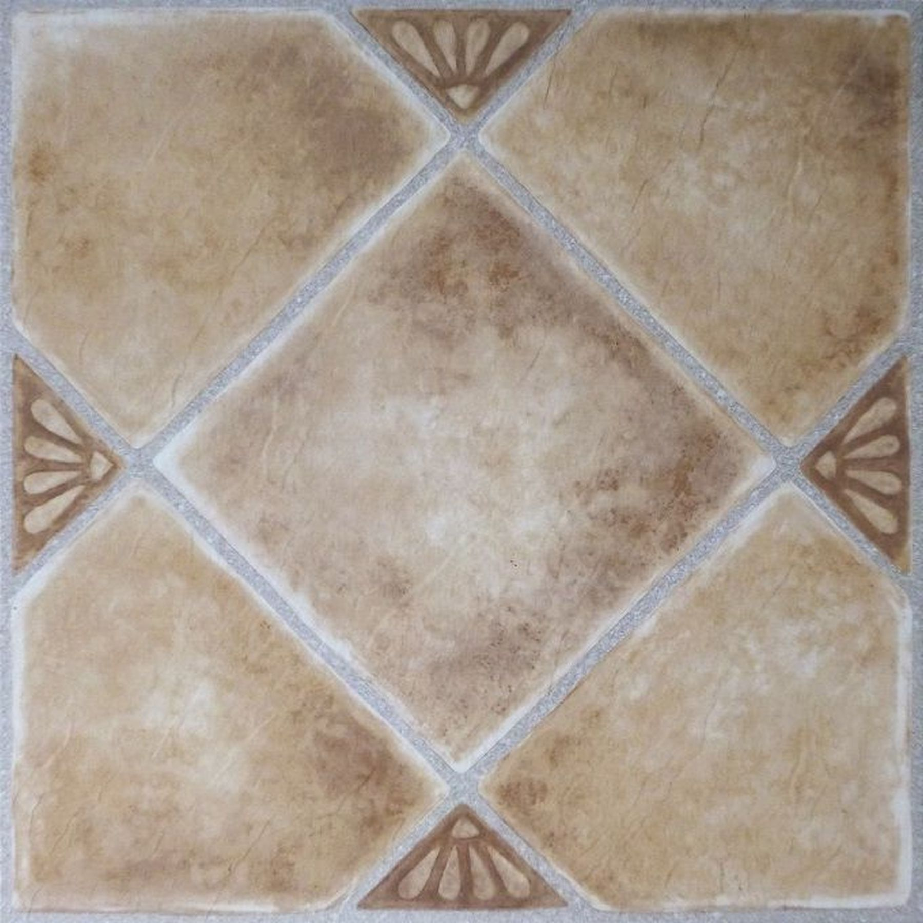 Traditional Elegance 5th Avenue Collection Beige Clay Diamond with Accents 12x12 Self Adhesive Vinyl Floor Tile - 45 Tiles/45 sq. ft.
