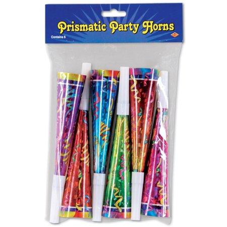 Club Pack of 72 Multi-Colored Prismatic New Year's Eve Trumpet Horn Party Favors (Prismatic Party Horn)