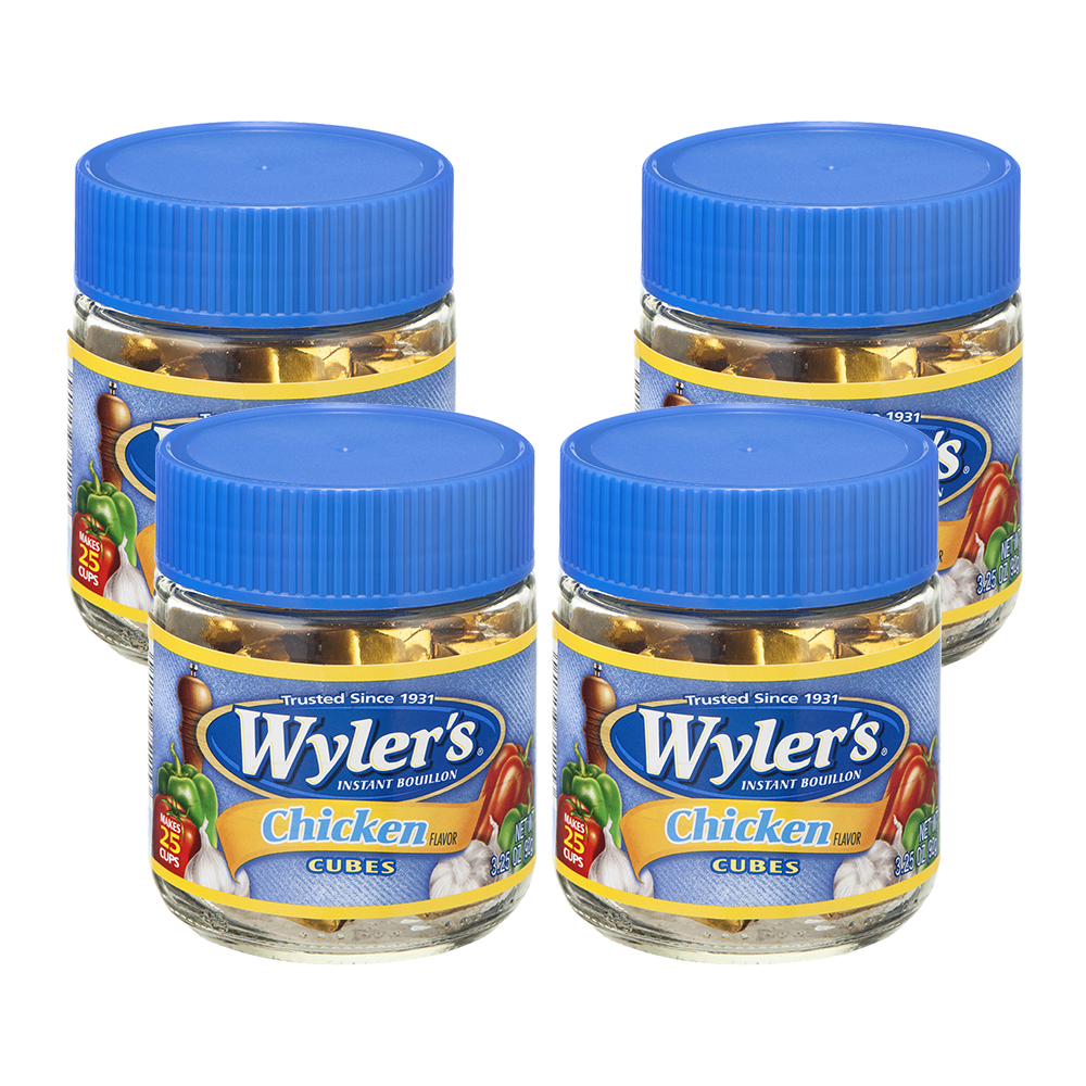 (4 Pack) Wyler's Chicken Instant Bouillon Cubes, 3.25 oz Jar