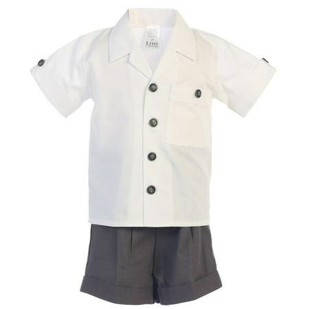 Baby Boys Charcoal White Poly Cotton Shirt Rayon Linen Shorts Set