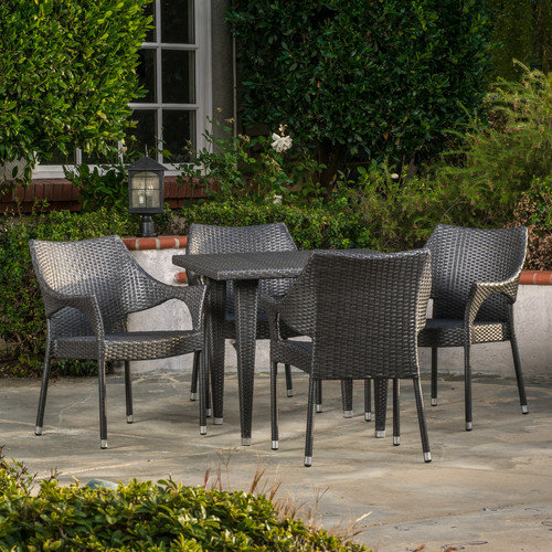 5-Pc Outdoor Dining Set in Gray Finish