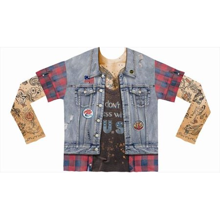 F122023  Shirts Mens Tattoo Jean Vest - Extra Large - image 1 de 1