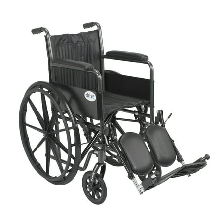 Drive Medical Elevating Leg Rests (Drive Medical Silver Sport 2 Wheelchair, Non Removable Fixed Arms, Elevating Leg Rests, 18