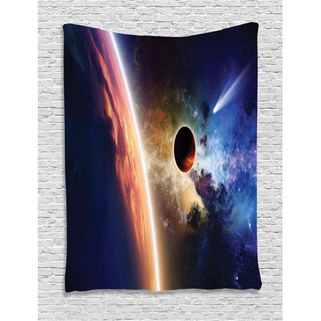 Outer Space Decor Wall Hanging Tapestry, Comet Approaches Glowing Planet Scientific Facts Realities In Solar System World Scene, Bedroom Living Room Dorm Accessories, By Ambesonne - Outer Space Decor