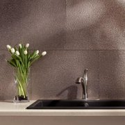 Fasade Hammered Brushed Nickel 18 in. x 24 in. Backsplash Panel Sample 6 in. x 6 in. Hammered Brushed Nickel