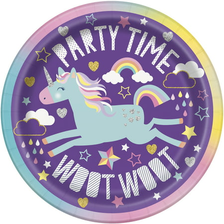 - Unicorn Paper Dessert Plates, 7in, 8ct