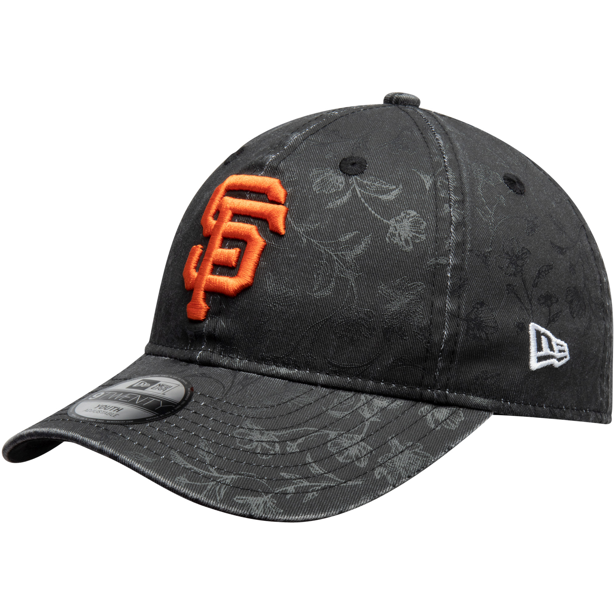 San Francisco Giants New Era Girls Youth Floral Peek 9TWENTY Adjustable Hat - Black - OSFA