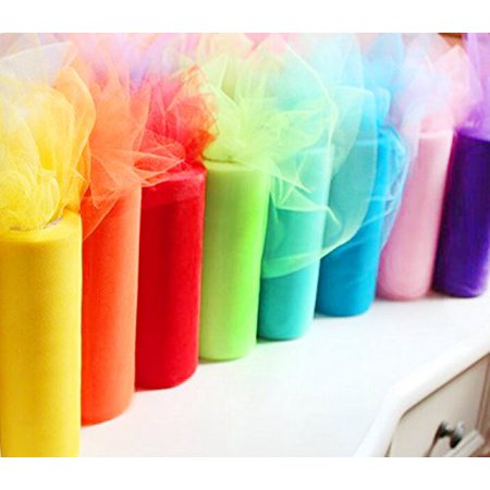 Craft and Party Rainbow color tulle assortment, 6 inch by 25 yard spool (8 pack )