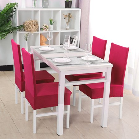 Elastic Polyester Dining Room Chair Covers Set of 4, Solid Color