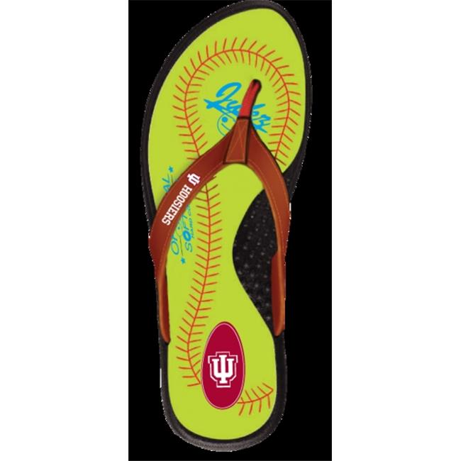 Jukz Sports IN-SFB02-S Indiana Hoosiers Softball Womens Flip Flops, Small - image 1 of 1