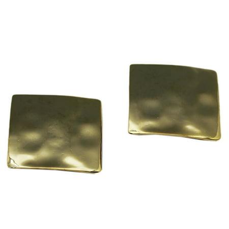 Gold Genuine Amethyst Earring - Golden Metal Square Clip On Earrings