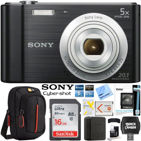 Sony Cyber-shot DSC-W800 Digital Camera 20.1MP Bundle With SanDisk Ultra 16GB Memory Card Case LCD Screen Protectors and Cleaning (Best Sony Digital Camera 2019)