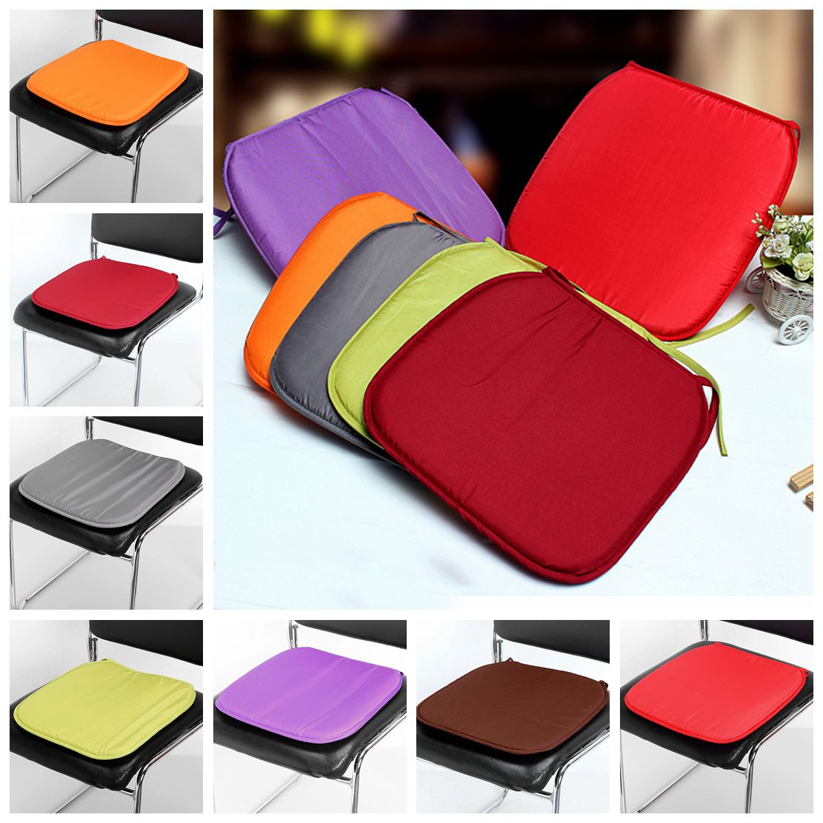 Multi-colors Soft Comfort Sit Mat Indoor Outdoor Chair Seat Pads Cushion Pads For Garden Patio Home Kitchen Office Park 37x37x2cm