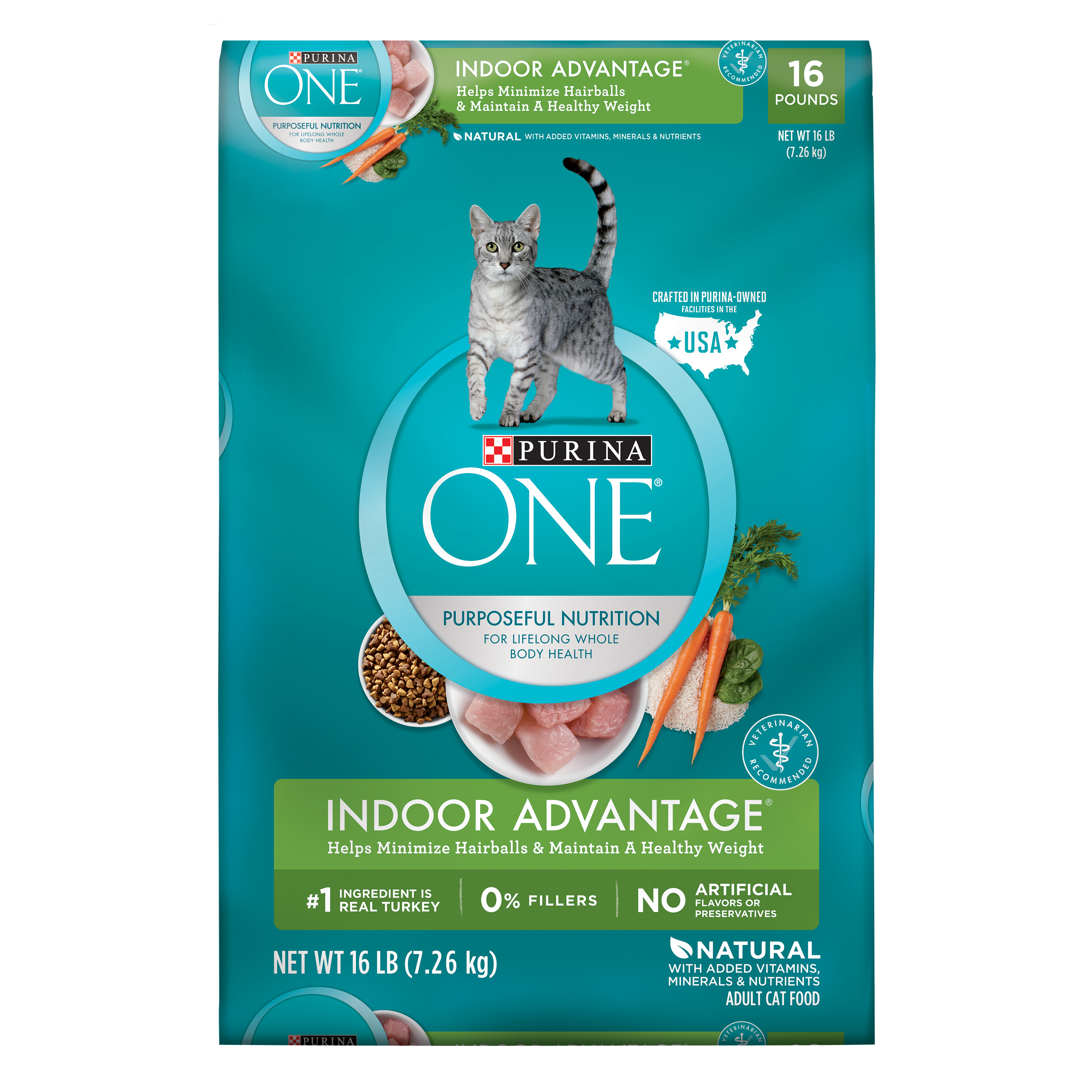 Purina ONE Indoor Advantage Adult Dry Cat Food, 16 lb