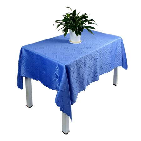Unique Bargains Household Fabric Rhombus Pattern Tabletop Protector Tablecloth Blue 180 x 140cm - Blue Fabric Tablecloth