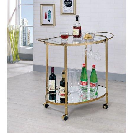 Furniture of America Acquer Champagne Contemporary 2-Level Serving (American Champagne)