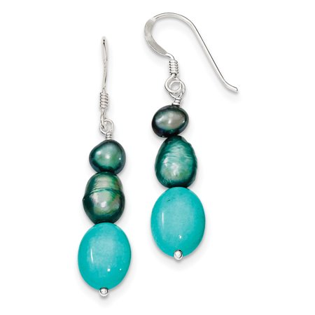 Dark Titanium Pearl (925 Sterling Silver Green Turquoise and Green FW Cultured Pearl Earrings)