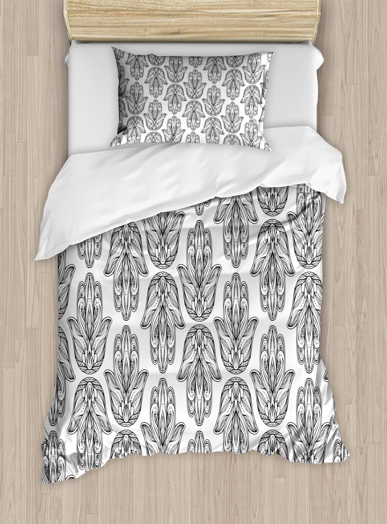 Hamsa Twin Size Duvet Cover Set, Asian Lotus Design Within Hand Motif Of  Religious Importance