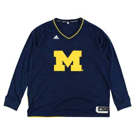 Adidas Mens Michigan Wolverines On Court Shooter Shirt Navy Blue XXL