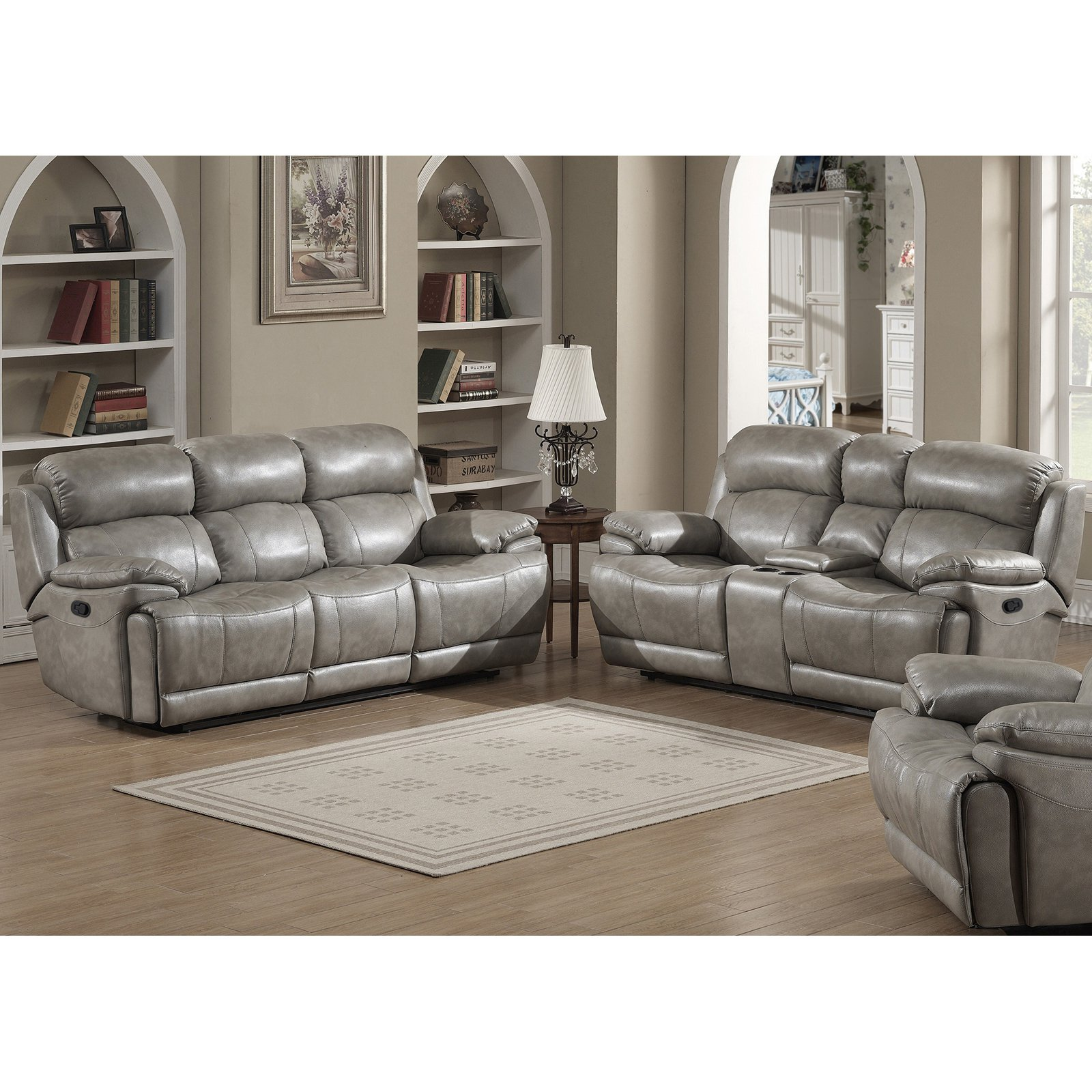 Christies Home Living Estella Collection 2 Piece Leather Living Room Sofa Set