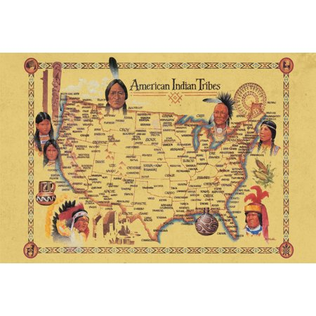 American Indian Tribes At Time Of Columbus Arrival Vintage Map Poster   18X12 Inch