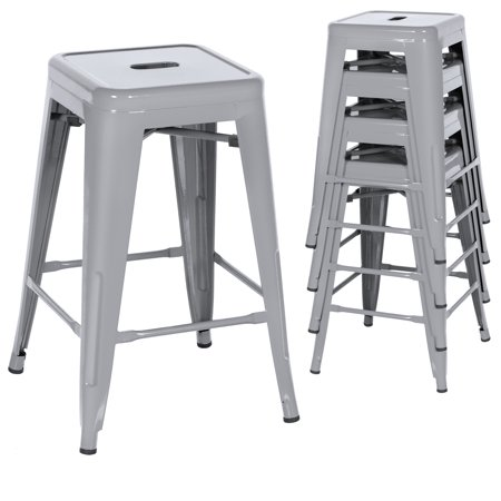 Best Choice Products 24in Set of 4 Indoor Outdoor Stackable Backless Counter Height Stools - Silver