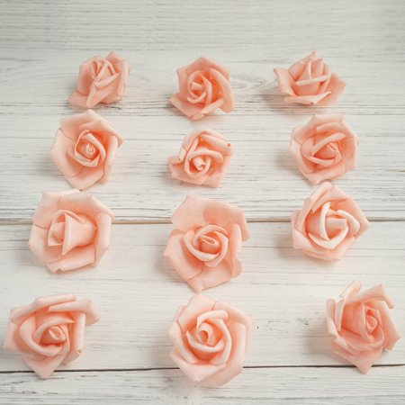 "Efavormart 12 pcs 2"" Real Touch 3D Artificial DIY Foam Rose Flower Head For Decoration"
