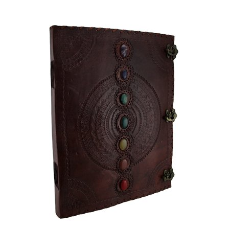 Giant Embossed Leather Bound Triple Clasp 7 Colored Stones Journal by Zeckos
